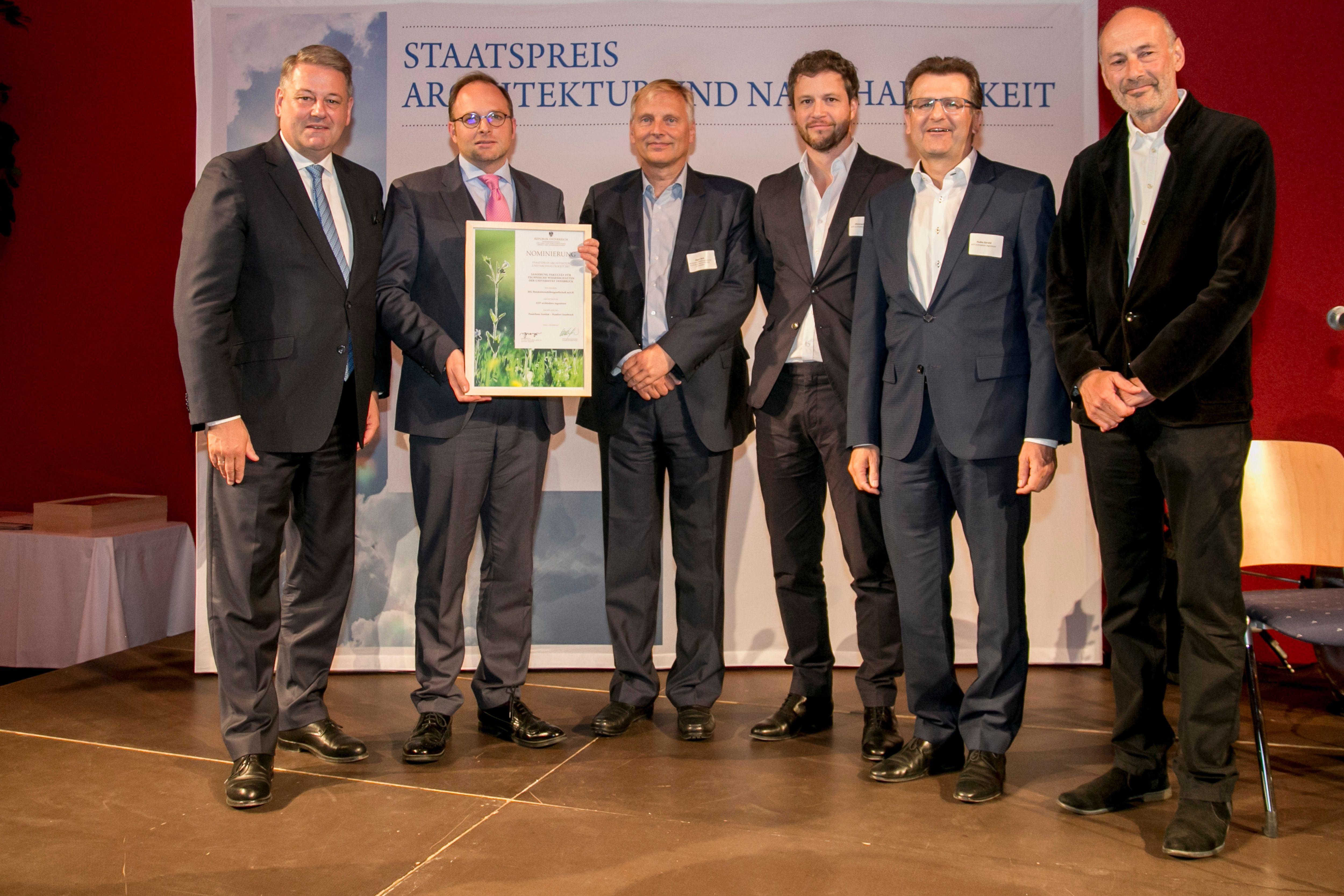 v.l.n.r.: BM Andrä Rupprechter, Maximilian Pammer und Dirk Jäger (BIG), Paul Ohnmacht und Gerald Hulka (ATP Innsbruck), Prof. Roland Gnaiger. Foto: Jan Hetfleisch<br><span class='image_copyright'>Jan Hetfleisch</span><br>