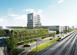 Das quartierseigene Parkhaus wird durch eine vertikale Fassadenbegrünung zum architektonischen Blickfang.<br><span class='image_copyright'>Visualisierung: ATP/Sontowski & Partner Group</span><br>