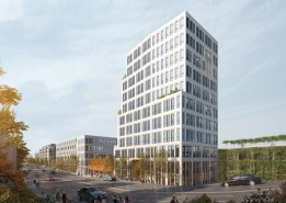 Markanter Auftakt des Quartiers wird ein ca. 40 Meter hoher Büroturm mit begrüntem Parkhaus.<br><span class='image_copyright'>Visualisierung: ATP/Sontowski & Partner Group</span><br>