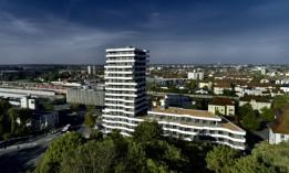 Der IN-Tower: Ein städtebaulich bedeutsames Wohnhochaus in Ingolstadt.<br><span class='image_copyright'>ATP/Becker</span><br>