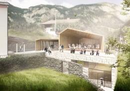 Wettbewerb Musikpavillon Finkenberg. Die Faltung des Daches nimmt Bezug auf die Satteldächer der Umgebung.<br><span class='image_copyright'>Visualisierung: ATP</span><br>