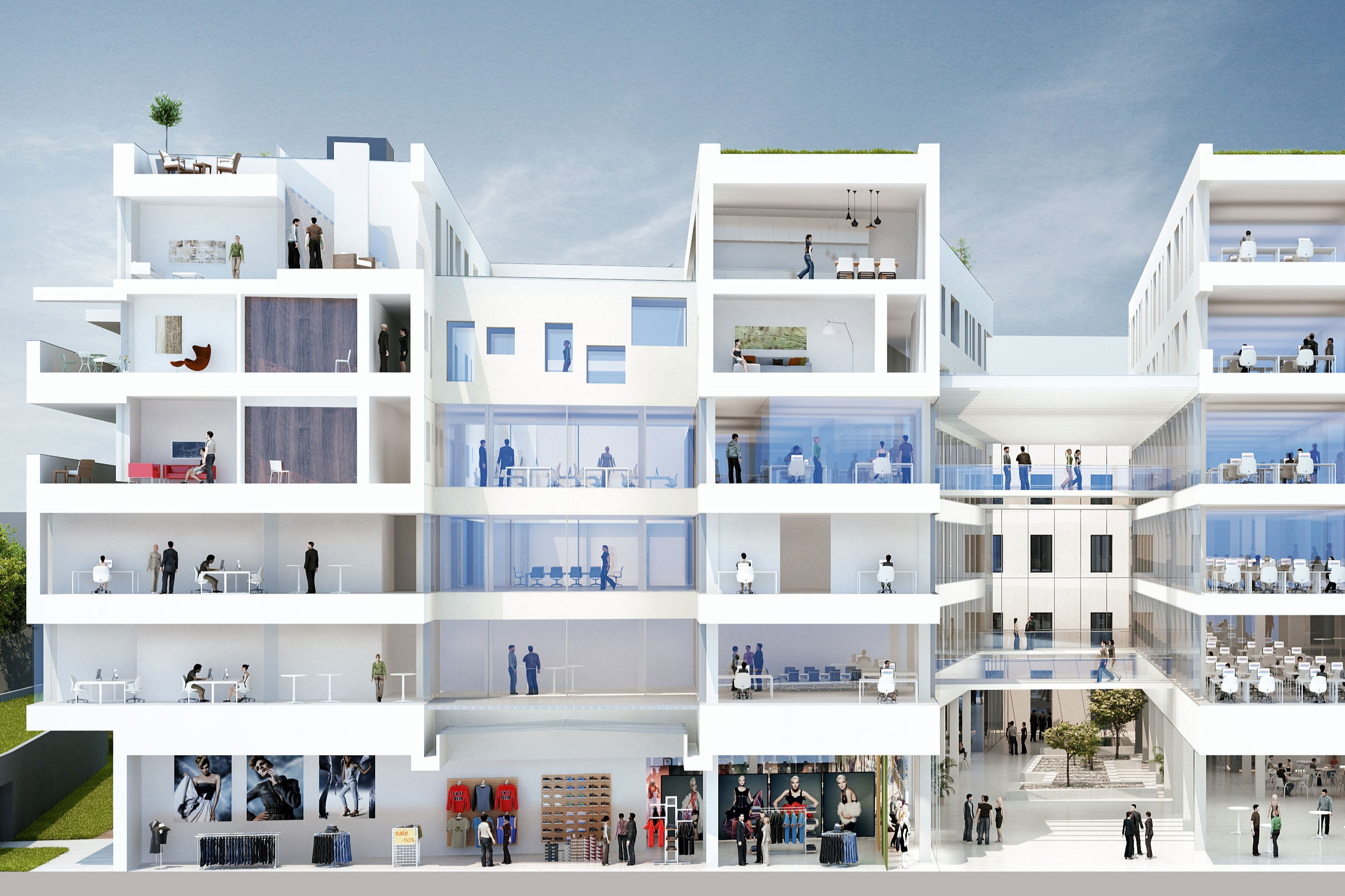 Promenaden Galerien, Linz, AT<br><span class='image_copyright'>Halle 1/Renderwerk.at</span><br>